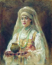 Sainte Olga servant l'Hydromel Cup of honey drink- Konstantin Yegorovich Makovsky -